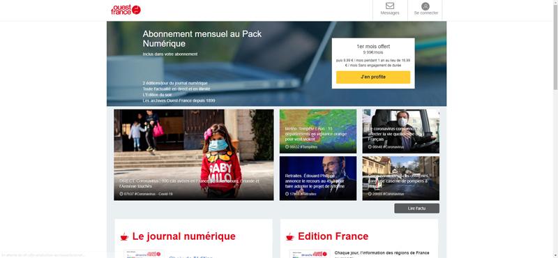 Journal numérique Ouest France : contenu et abonnement